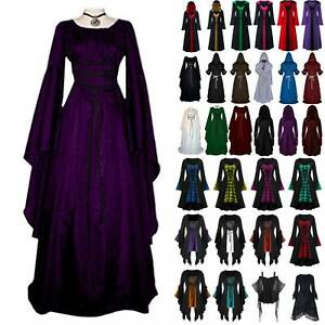 Womens Renaissance Gothic Maxi Dress Costume Medieval Victorian Hooded Cape Gown $23.74