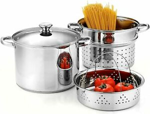 Cook N Home, Stainless Steel 4-Piece 8 Quart Pasta Cooker Steamer Multipots- NEW