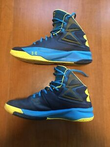 UNDER ARMOUR UA ROCKET MEN'S BASKETBALL SHOES, SIZE 9.5 BLUE YELLOW $8.50