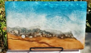 Custom-Made Olive Wood Charcuterie Serving Board Blue Ocean with Sea Shells