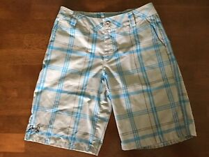Under Armour Gray & AQUA Plaid Golf Style Shorts Loose Fit Size Youth L YLG $3.99