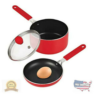Cook N Home Nonstick 5.5 Mini Size One Egg Fry Pan and Sauce Pan 1-QT with Lid