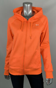 Under Armour Womens Hoodie M Cold Gear Semi Fitted Neon Orange Full Zip Pockets $29.99