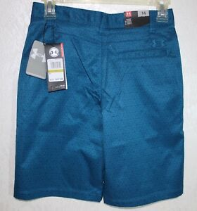 Under Armour Youth Boys Dark Aqua Blue Garcons Chicos Print Golf Shorts size 14 $34.99