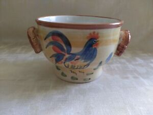 California Pantry Classics Ceramics Cereal Soup Bowl Rooster Design with Handles