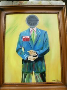 Original ABSTRACT ART Oil On Canvas Painting MAN VALIUM NAME PILL Signed MARCOS $199.99