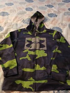 Under Armour youth Size medium Zipper hoodie green And navy blue camo $27.99