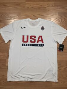 NEW NBA MENS Nike USA Basketball Practice T Shirt Dri Fit Size XL Red White Blue $25.99