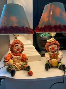 VTG Rare Raggedy Ann and Andy Lamps 1971 Heavy Resin With Ruffle Shades Antique $75.98