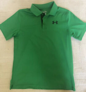 UNDER ARMOUR Boys Golf Shirt Green Loose Youth L Large EUC $3.99