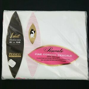 NEW Vintage Penney's White Double Full Sheet 100% Combed Percale Cotton 81 x 108