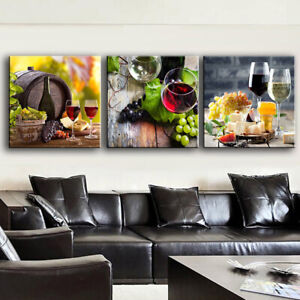 3Pcs Modern Home Canvas Wall Decor Art Painting Picture Print Red Wine amp; Grape