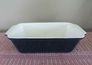 Kitchen Select Stoneware 5 x 9 Bread Meatloaf Cake Pan Cobalt Blue and White