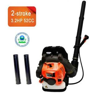 52CC 2Stroke Powered 3.2HP Gas Backpack Leaf Blower w/ Padded Harness EPA