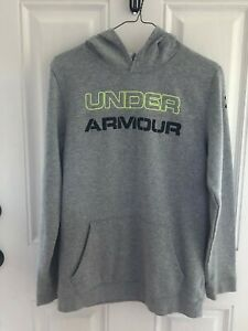 Boys Youth XL Under Armour Loose Hoodie Gray Sweatshirt block letters $16.99