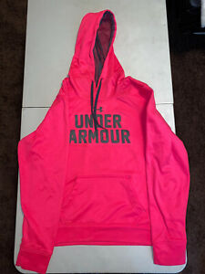 Womens Under Armour Cold Gear Hoodie Swearshirt Sz Large Pink $1.00