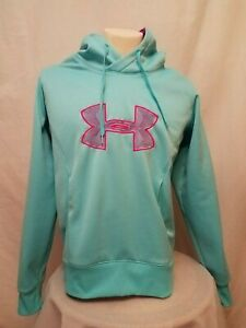 Under Armour ColdGear Aqua With Magenta Womens Big Logo Pullover Hoodie Large $10.99
