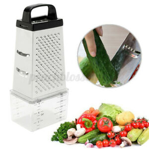 Stainless Steel Manual Vegetable Cheese Grater 4 Sided With Container Box Tray
