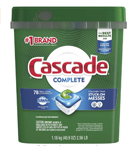Cascade Complete ActionPacs Dishwasher Detergent Pods Fresh Scent 78 Count $21.99
