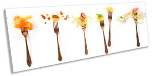 Italian Food Forks Pasta Picture PANORAMA CANVAS WALL ART Print White