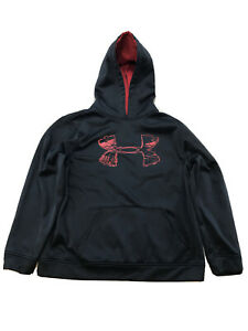 Under Armour Boys Black Red Storm Fleece Lined Pullover Hoodie Sz XL $21.49