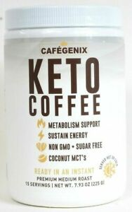 Cafegenix KETO Coffee Non GMO Instant Premium Medium Roast 7.9 Oz 15 Servings