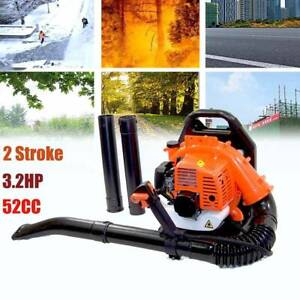 52CC 3.2HP 2Stroke Gas Leaf Backpack Blower Powered Debris Padded Harness