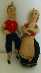 Adorable Antique Thread Wrapped Doll Couple Trondheim Norway Very nice pair $25.00