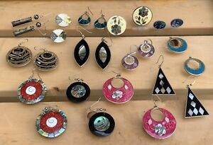 Vintage Jewelry Lot Alpaca Mexico Silver Earrings Abalone Shell Inlay 13 Pairs