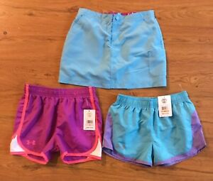 Lot of 3 Under Armour LLBean Size 6 Girls Purple Blue Pink White Shorts NWT $24.99