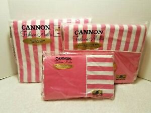 Vintage 70's/CANNON SHEET SET/pink and white/ DOUBLE-FULL SIZE/fitted,flat,cases