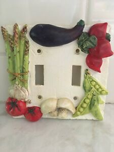 Vintage Double Kitchen Light Switch Plate & Screws with Vegetables!