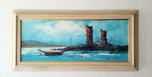 Mid Century Modern Abstract Oil Painting Seascape Signed $250.00