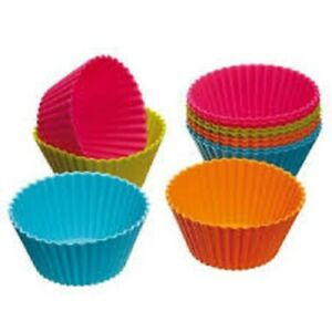 24 Quality Assorted Colors Reusable Silicon Cupcake Muffin Cases Molds