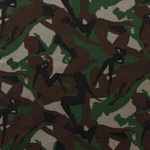 ALEXANDER HENRY quot;CAMOUFLAGE GIRLSquot; 6205A Army Green by the 1 2 yard