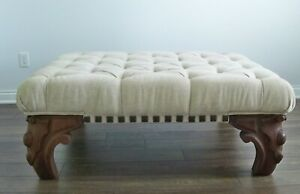 OOAK Large Ottoman Upholstered Tuffted Crypton Fabric Custom Antique Legs $2250.00