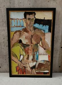 Male Nude Academic Modern Art Painting 1968 $870.00