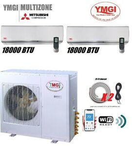 YMGI 2 Zone 36000 BTU Mini Split Air Conditioner Heat Pump Cool Heat Wifi Split