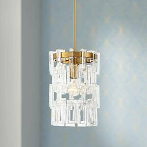 Brass Crystal Mini Pendant Light 9 1 2quot; Modern for Kitchen Island Dining Room $249.98
