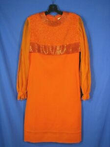 ADDE CALIFORNIA Bright Orange THICK KNIT PARTY DRESS Beaded Top SHEER SLVS XS S $10.80