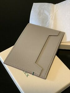 New Authentic ROLEX Card Wallet Genuine Italian Leather Grey $149.00