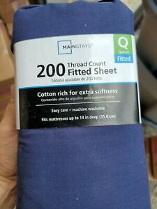 Mainstays 200 Thread Count Fitted Sheet Queen Size blue