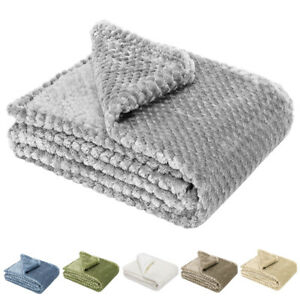 Soft Throw Blanket 300GSM Reversible Warm Faux Fur Fleece for Sofa Couch Bed