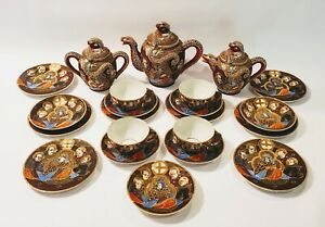 Japan Satsuma Geisha Dragonware Moriage 22 Pc Tea Set Pot Creamer Sugar Plates