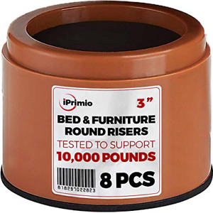 """iPrimio Bed and Furniture Risers – 8 Pack Brown Round Elevator up to 3"""" amp; Lifts"""