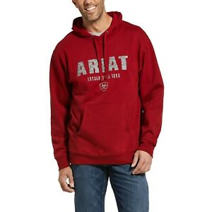 Ariat® Mens Digi Logo Brushed Fleece Red Hoodie 10033149 $39.95
