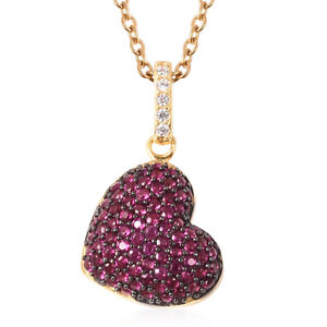 Sterling Silver Ruby Cubic Zirconia CZ Valentine Heart Necklace Pendant Size 18quot; $26.99