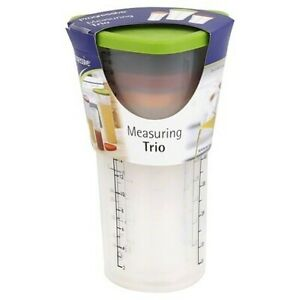 Progressive Measuring Cup Trio W Lids Easy Hold 1 2 amp; 4 Cup Standard amp; Metric $13.49
