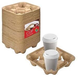 4 Cup Disposable Coffee Tray 75 Count Biodegradable Compostable Cup Carrier