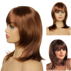 Stylish Womens Layered Bob Synthetic Full Wig Long Straight Hair Wig With Bangs $15.87